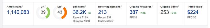 Chỉ số hiện tại của Website