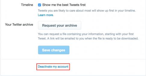 """Cuộn xuống và bấm vào """"Deactivate my account"""" ở dưới cùng của trang"""